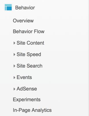 Googleアナリティクス英語メニュー(Behavior:行動)